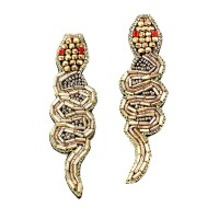 Dazzling Oversized Bronze Beaded Snake Statement Earrings
