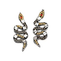 Dazzling Multi Gold Snake Statement Earrings