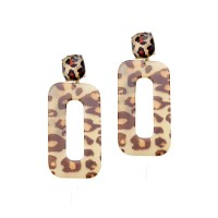 CHIC BROWN LEOPARD RECTANGLE DANGLE EARRINGS