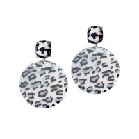 STUNNING SNOW LEOPARD ROUND DANGLE EARRINGS