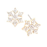 Clear Crystal Pave Beads Snowflake Gold Stud Earrings