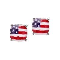 PATRISTIC AMERICAN FLAG SQUARE STONE STUD EARRINGS