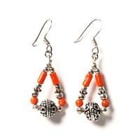 Genuine Coral Triangle Sterling Silver Earrings
