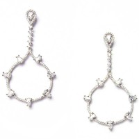 Silver CZ Tear Drop Long Dangle Statement Earrings