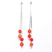 Pink Floral Drop Double Long Silver Dangle Earrings