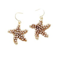 METALLIC GOLD WIRE GREY FACETED BEADS STARFISH DANGLE EARRINGS