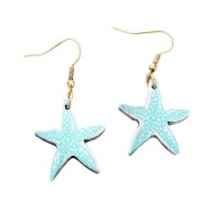 Whimsical Mint Blue Starfish Wood Dangle Statement Earrings