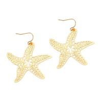 STUNNING CUTOUT MATTE GOLD STARFISH DANGLE EARRINGS
