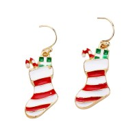 Holiday Red White Enamel Christmas Stocking Dangle Earrings