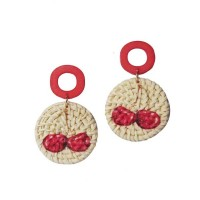 Whimsical Cherry Woven Straw Drop Earrings