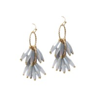 Stunning Silvery Gray Beaded Tassel Statement Earrings