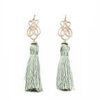 GreenTassel Dangle Filigree Statement  Earrings