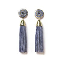 Blue Hammered Beaded Tassel Statement Earrings