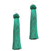Green Criss Cross Knot Fringe Drop Statement Earrings