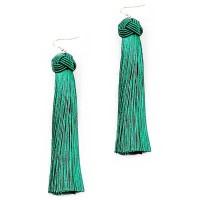 Green Criss Cross Knot Fringe Drop Statement Earrings