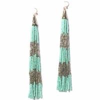 Mint Silver Long Bead Tassel Statement Earrings