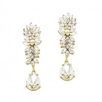 Stunning Crystal Clear Teardrop Dangle Statement Earrings