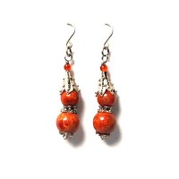 Earrings Double Red Coral Dangling