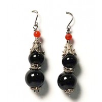 Earrings Double Black Onyx Dangling