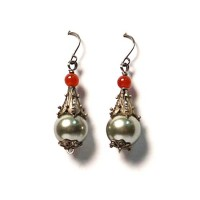 Tibetan Gray Pearl Dangling Silver Earrings