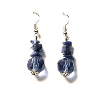 Lapis Chips Beads Dangle Earring