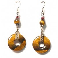 Exotic Genuine Tigereye Disk Silver Dangle Earrings