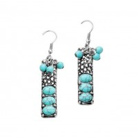 Triple Oval Turquoise Bubble Textured Rectangle Earrings