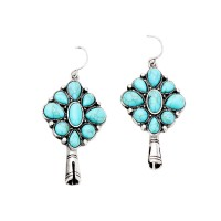 Vintage Inspired Boho Turquoise Stone Squash Blossom Earrings