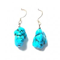 Turquoise Nugget Silver Dangling Earring