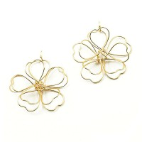 Jumbo Floral Gold Dangle Statement Earrings