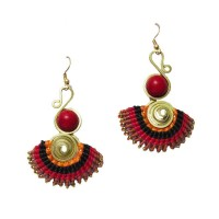 HANDCRAFTED RED SWIRL RAY DANGLE EARRINGS