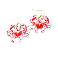 WHIMSICAL RED CRAB WOOD DANGLE EARRINGS