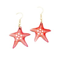 WHIMSICAL RED STARFISH WOOD DANGLE EARRINGS