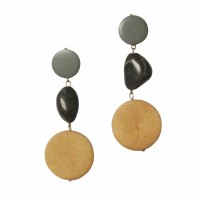 Stylish Handcrafted Stone Wood Dangle Statement Earrings