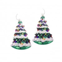 Vintage Christmas Tree Metal Dangle Earrings