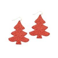 Glittering Red Christmas Tree Dangle Earrings