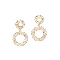 SPARKLING MULTI-FACETED CLEAR CUBIC ZIRCONIA DOUBLE ROUND LINK DANGLE EARRINGS