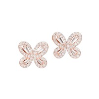 SPECTACULAR MULTI-FACETED CLEAR CUBIC ZIRCONIA BUTTERFLY STUD EARRINGS