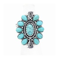 Vintage Inspired Boho Turquoise Stone Oval Stretch Ring