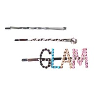 "Silver Pastel Multi Color ""GLAM"" Hair Pin Set"