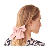 Shimmering Pink Bow Ribbon Barrette