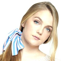 Romantic Preppy Pink Blue Stripe Ponytail Hair Ribbon