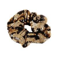 GLITTERING GOLD BLACK ANIMAL PRINT SEQUIN HAIR SCRUNCHIE