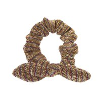 Chic Bronzy Brown Metallic Stripe Hair Bow Scrunchie