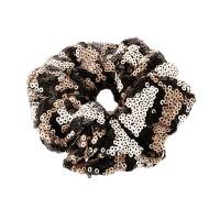 GLITTERING PEWTER BLACK ANIMAL PRINT SEQUIN HAIR SCRUNCHIE