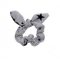Chic Black & White Houndstooth Pattern Star Bow Scrunchie