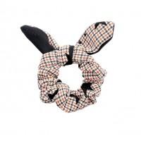 Chic Brown Houndstooth Pattern Star Bow Scrunchie