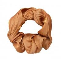 Lustrous Honey Beige Metallic Hair Scrunchie