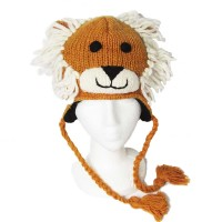 NEPALESE HAND KNIT LION 100% WOOL HAT