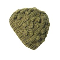 GREEN BOBBLE AND RIB KNIT BEANIE HAT